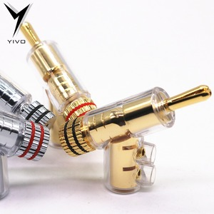 Image 5 - 8pcs Hi end YIVO Brass Copper Plated Gold or Rhodium Gun type Audio Video Speaker Adapter 6mm banana connector