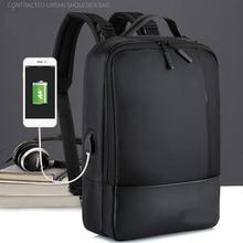Mode hommes femmes école bureau pochette dordinateur doux avec Port USB Zipper étanche Anti vol sac à dos décontracté