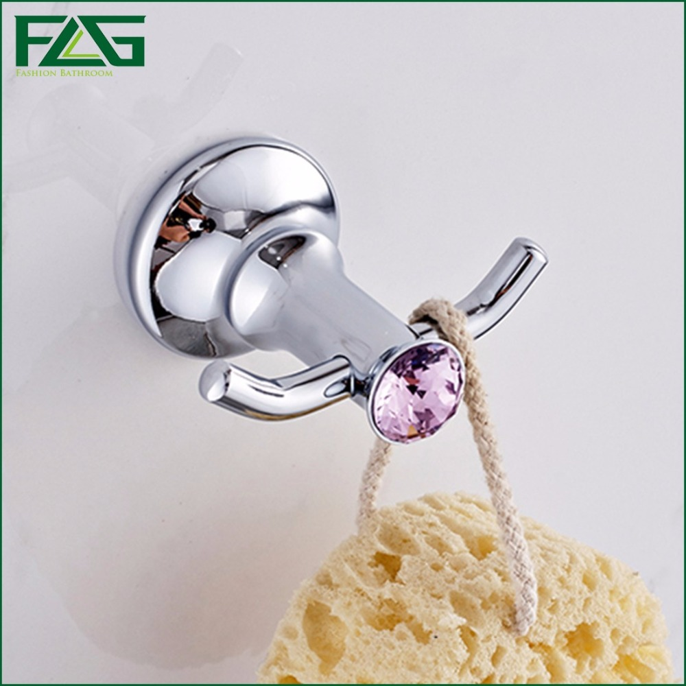 Cheap purple bathroom accessories - Flg Robe Hook Wall Mounted Single Clothes Towel Hooks Copper Chrome Finish Purple Crystal Bathroom Accessories