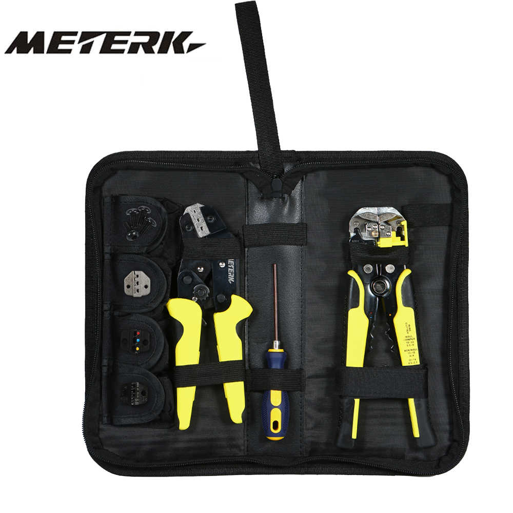 Meterk Professional multitool 4 In 1 Wire Crimpers Engineering Ratcheting Terminal Crimping Pliers wire stripper Tools Set
