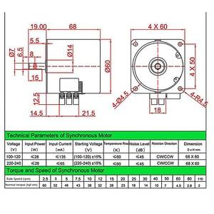 Image 3 - 1pc 220v ac 28w 68ktyz motor síncrono da engrenagem 68 ktyz ímã permanente motor síncrono 2.5/5/10/15/20/30/50/60/80/110rpm