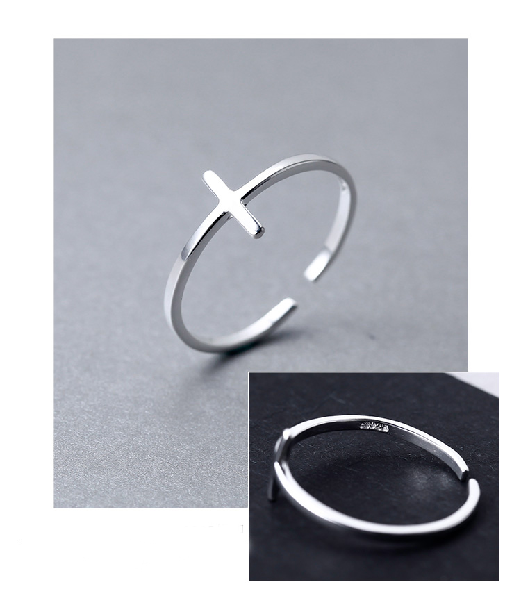 Sterling Silver Plain Cross Adjustable Ring