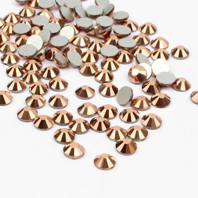 עלה זהב ללא תיקונים קריסטל Rhinestones מסמרי אמנות קישוט SS3-SS30 Flatback דבק על אבני Strass DIY בגדי מלאכות 401