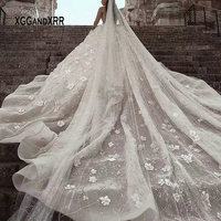 Luxury Long Sleeves Ball Gown Wedding Dress 2019 Scoop Princess Flower Beading Pearls Royal Train Long White Formal Bride Dress