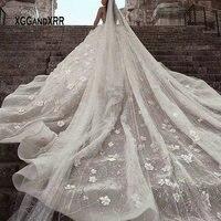 Luxury Long Sleeves Ball Gown Wedding Dress 2019 Scoop Princess Flower Beading Pearls Royal Train Long White Formal Bride Dress