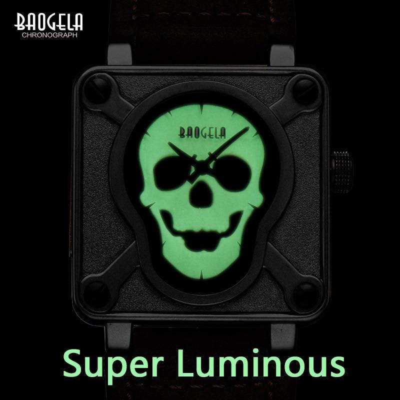 Baogela Pirate Skull Style Quartz men Watches Brand Men Military Luminous Men Sports Watch Waterproof Relogio Masculino B1701       - title=
