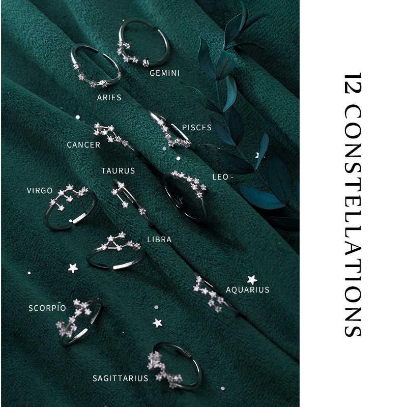 Colusiwei สิบสอง Constellations แหวน 925 เงินสเตอร์ลิงพราว Star ปรับแหวน AAA CZ ออกแบบ Bijoux