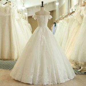 Image 2 - SL 536 di Modo A Buon Mercato Fuori Dalla Spalla Manica Corta Perline Pizzo Applique Da Sposa Abito Da Sposa matrimonio vestido longo