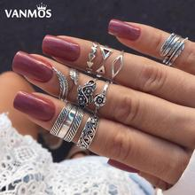 Vanmos 9pcs Fashion Bohemia Retro Antique Silver Color Rings for Women Girls Finger Knuckle Jewelry Accessories Blue Stone