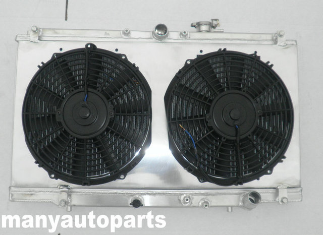 US $205 0 |2 ROW Aluminum Radiator+shroud+two fans for Honda Accord CD5 CD7  2 2L Manual 1994 1997 94 95 96 97-in Radiators & Parts from Automobiles &