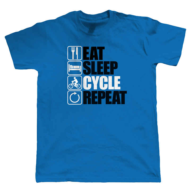 T Shirt Making Eat Sleep Cycle Repeat, Mens Cyclinger MenS Crew Neck Short-Sleeve Fashion 2018 Tees