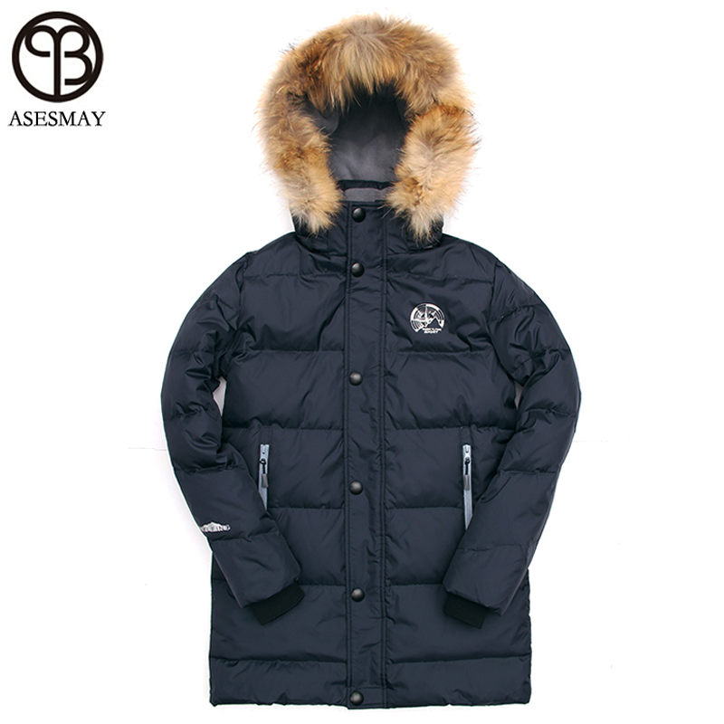 Asesmay 2017 Down Jacket Men Long Winter Jackets Men Parka Hooded High Quality Warm Plus Size M-6XL Coat Natural Fur Thick Coat