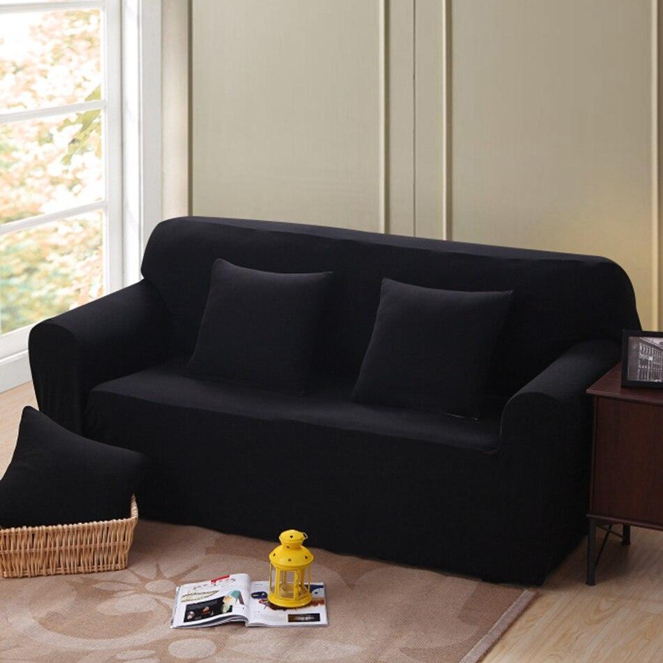 Canapé Multi Couleur dedans solide couleur coin canapé couvre pour salon multi-taille noir