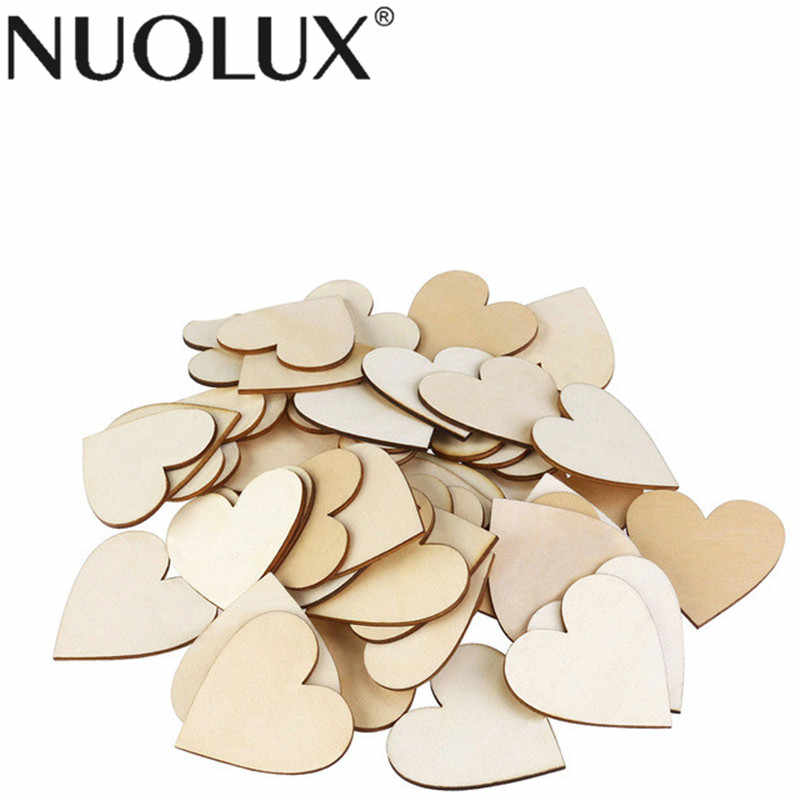 50pcs Blank Heart Wood Slices Discs For DIY Crafts Embellishments Weddng Event Party Birthday Decoration (Wood Color)