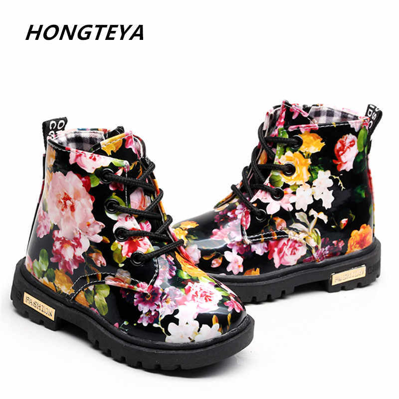 warm thick fur Kids Boots Girls Boys Elegant Floral Flower Print Boots Children Boots Shoes Baby Toddler Martin Boots Kids