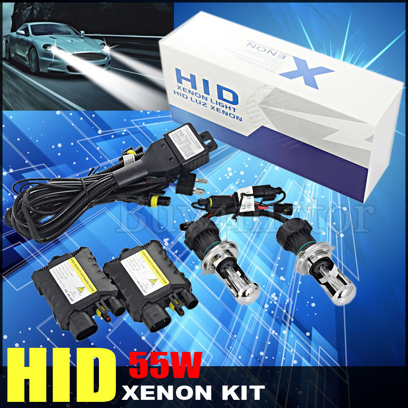 55W H4 bixenon Hi lo HID Kit Xenon Replacement H/L beam Car Headlamp light Slim Ballast Bulb for 4300K 6000K 8000K 10000K 12000K luo 9007 h l dual beam 10000k xenon hid lights bulb lamp for car single beam replacement headlight 55w