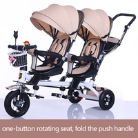 Бесплатная доставка коляска для малышей близнецов двойное сиденье Детский трицикл дети велосипед вращающийся сиденье три коляска на колёс