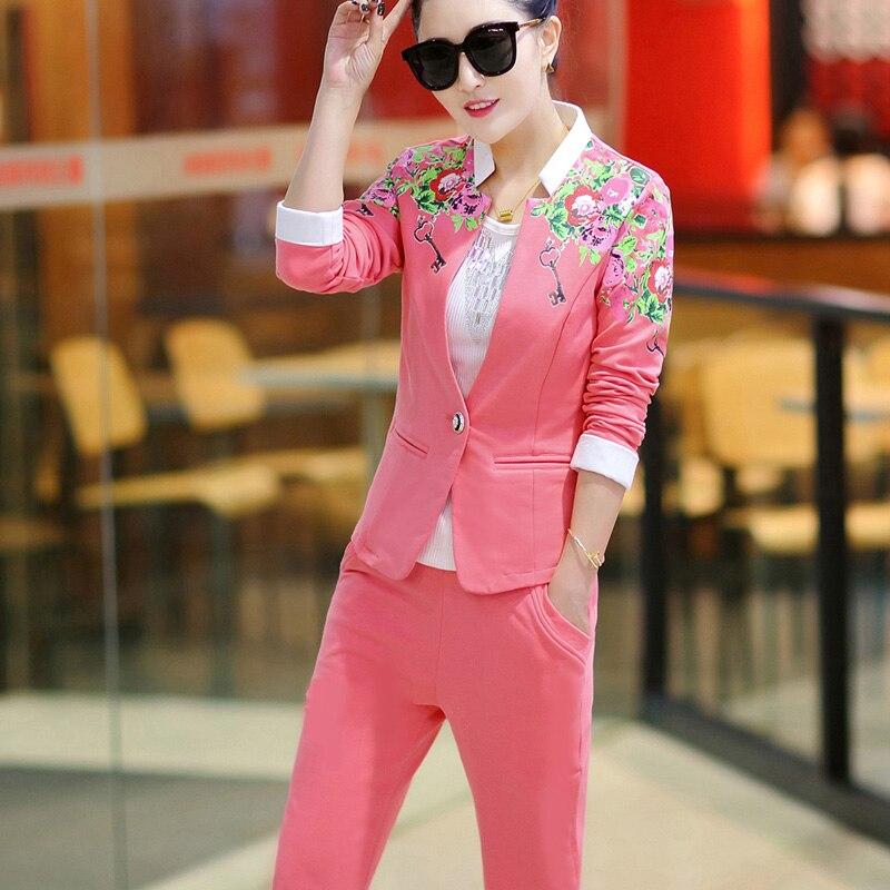 DHfinery 3 piece set femmes casual pleine manches bleu rose survêtement Crop Top + gilet + pantalon trois pièces ensemble plus la taille M-5xl BS5352 - 5
