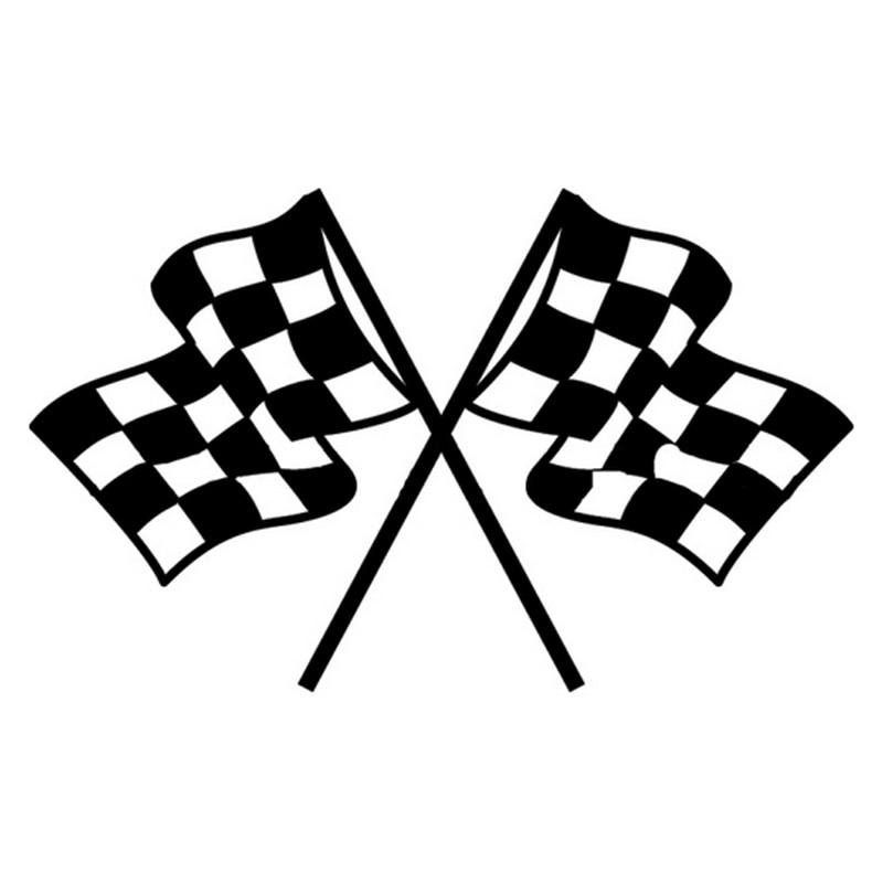 11cm 18cm checkered flag cartoon car styling decorative vinyl stickers black  silver s3 4773