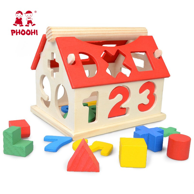 Digital Shape Cognition Wood House Kids Building Baby Montessori Educational Wooden Toys