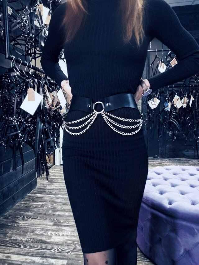 Эффективности затрат. жгут Новая мода кожаный ремень безопасности с цепочкой пикантные Для женщин бондаж черный Страховочная привязь с ремнем для похудения тела кожаная портупея