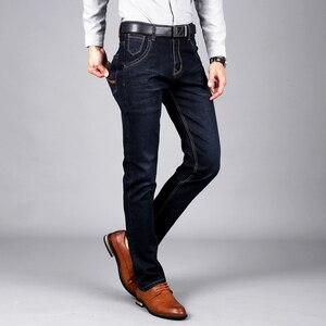 Image 1 - Sulee ماركة الرجال الجينز حجم 28 إلى 42 أسود أزرق تمتد الدنيم ملابس رجالي تلائم الرجل النحيف جان ل سروال رجالي بنطلون جينز