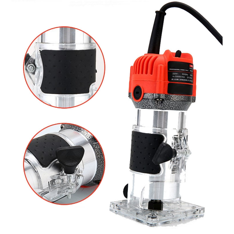 1Set 220V Wood Trim Router 6 35mm Collect Diameter Electric Hand Trimmer Woodworking Laminate Palm Router