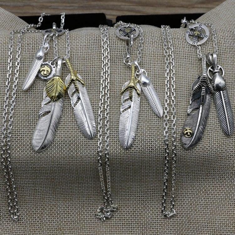купить Starfield Takahashi Goro Engraved Feather Eagle Claw Pendant Male Female Retro Thai Silver S925 Sterling Silver Necklace по цене 4855.7 рублей