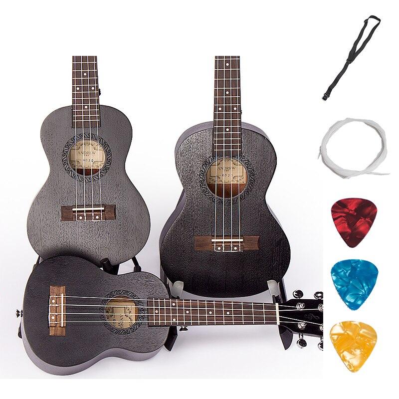 Soprano Concert ténor ukulélé 21 23 26 pouces noir hawaïen Mini guitare Guitarra acajou 4 cordes Ukelele artisanat bois Uke