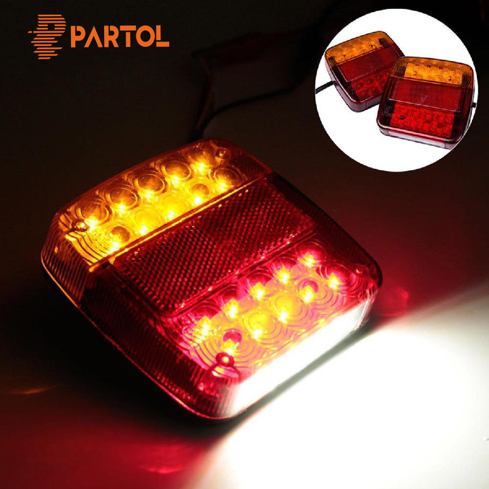 Partol Car LED Rear Tail Light Running Turn Signal Warning Lights Rear Lamps Waterproof Tailight Parts For Trailer Trucks 12V