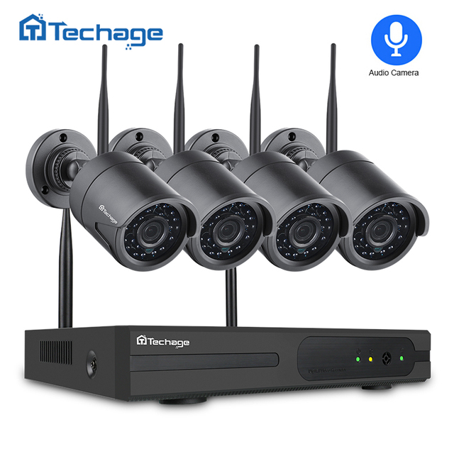 Techage 4CH 1080P Wireless NVR CCTV Security System 2.0MP Audio Record Outdoor Wifi IP Camera P2P Video Surveillance Set 1TB HDD