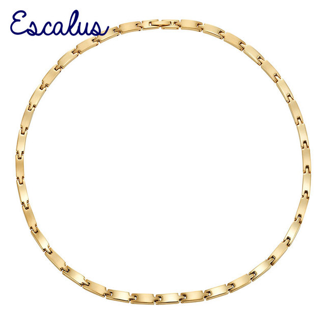 Escalus Women Stainless Steel Magnetic Necklace Young Ladies Shiny Gold 34pcs Magnets Neckwear Charm Choker Jewelry