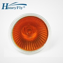 Купить с кэшбэком HoneyFly5pcs Orange Flame Lamp 35W/50W 12V/220V GU5.3 JCDR Dimmable Halogen Lamp Bulb Spot Light Quartz Furnace Fireplace Lamba