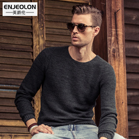 Enjeolon Brand 2017 Pullovers Sweaters Mens England Style Sclothes Cotton O Collar Black Clothing Man S