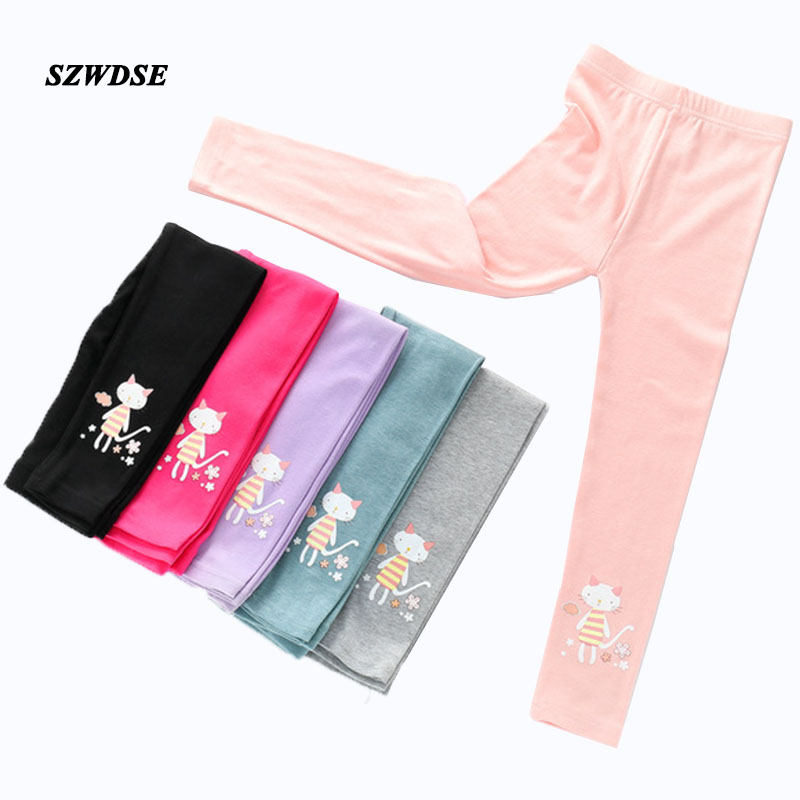 2018 NEW Autumn Spring Children's Cotton Sports pants cat printed underwear ankle-length Elastic girls' pencil pants 3-8 years ankle length elastic mens pencil pants