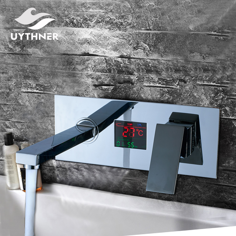 Uthyner Newly Chrome Brass Shower Set Bathtub Mixer Tap Bathroom Faucet Digital Display With Temperature Wall Mounted Hot&Cold thermostatic bathroom shower faucet solid brass bathtub mixer tap chrome finish wall mounted