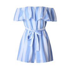 100% Knitted Cotton Blue White Striped Playsuits Sexy Loose Ruffles Short Jumpsuit Off Shoulder Bodysuit Women Overalls Summer