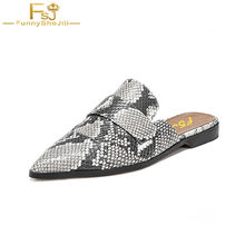 Fashion 2017 Snake Skin Womens Retro Backless Slip On Loafers Flat Pointed  Toe Mule Slipper Casual Slides Shoes Woman Zapato 68416665ee00
