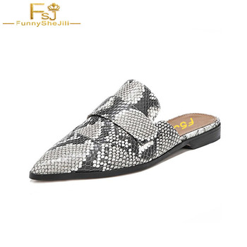Shoes Woman Snake Print Skin Slippers Women Retro Backless Outting Loafers Flat Pointed Toe Mule Casual Slides gg 2020 Designer