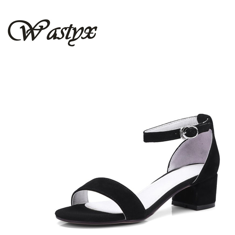 Wastyx new 2018 Ankle Strap Heels Women Sandals Summer Shoes Women Open Toe Chunky mid Heels Party Dress Sandals Big Size 34-44 covibesco nude high heels sandals women ankle strap summer dress shoes woman open toe sandals sexy prom wedding shoes large size