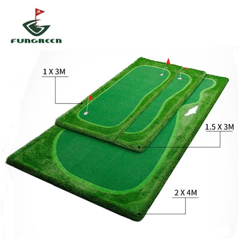 FUNGREEN 4,5x9 футов гольф положить зеленый Крытый открытый задний двор практика положить мат для тренировок портативный обучение игры для гольф