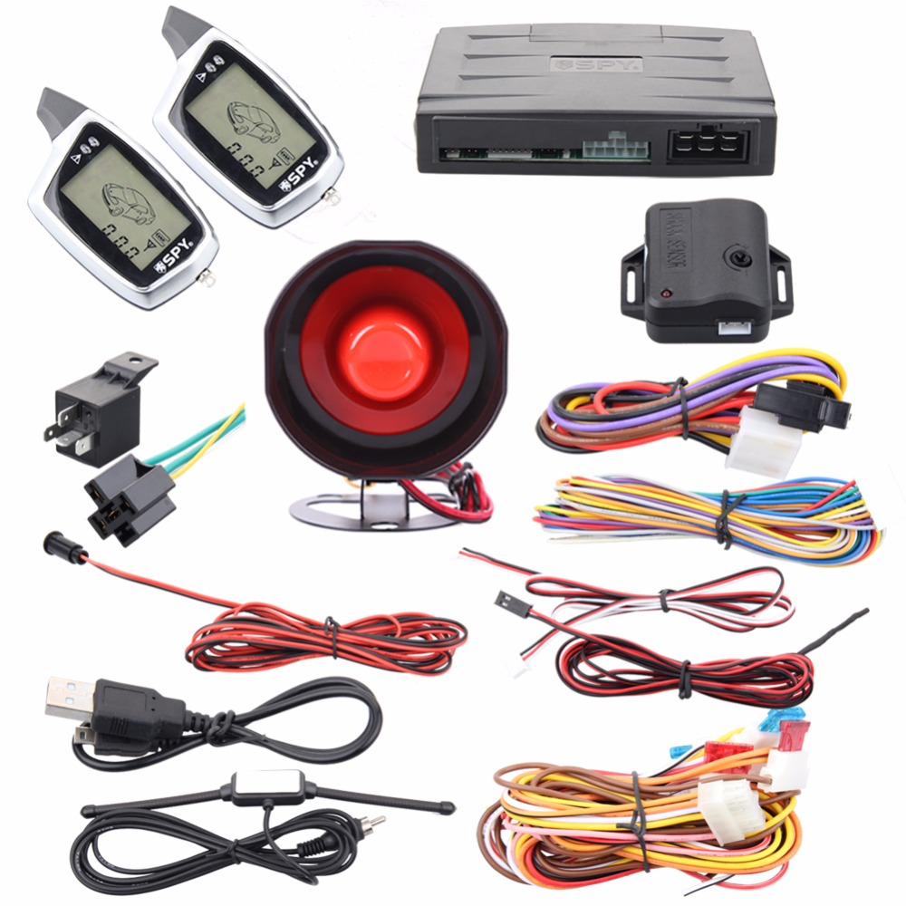 Good quality spy 2 way car alarm system remote lock unlock remote engine start stop