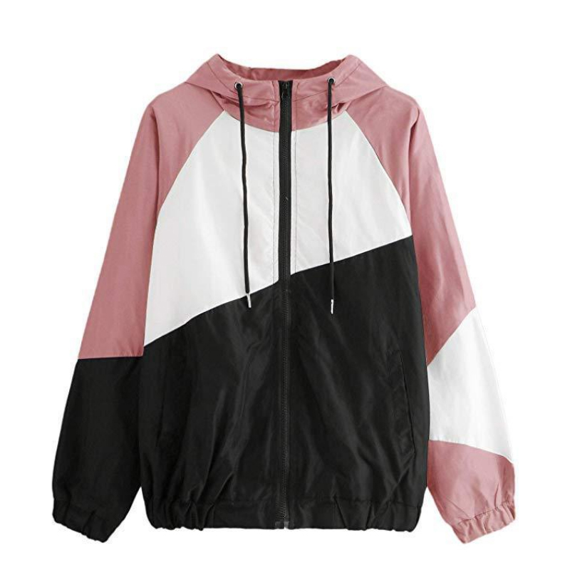 Women Basic Jackets Female Zipper Pockets Casual Long Sleeves   Coats   Autumn Hooded Jacket Two Tone Windbreaker Jacket