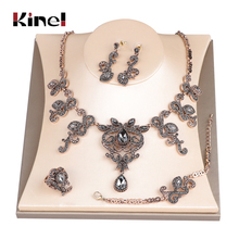 Kinel Hot Unique Grey Crystal Wedding Jewelry Set Antique Gold Turkey Flower Earring Necklace Bracelet Ring For Women Love Gift