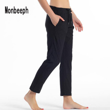 Monbeeph Leggings Ankle-Length-Pants Stretch Drawstring Black Women Fabrics Navy