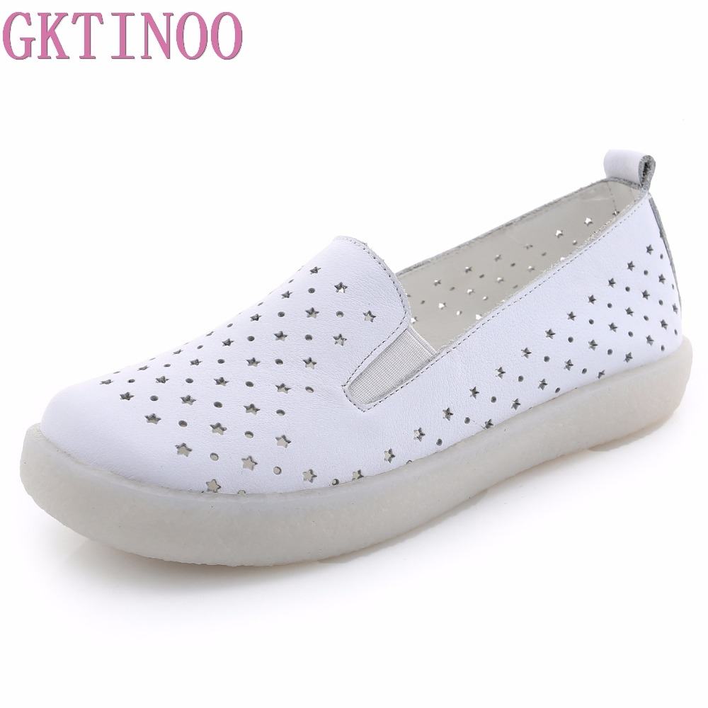 GKTINOO Genuine Leather Shoes Women Flats 2018 Hollow Casual Shoes Handmade Comfortable Soft bottom Flat Shoes Moccasins 2018 new summer casual genuine leather hollow flat shoes green black women shoes comfortable and breathable hole shoes obuv