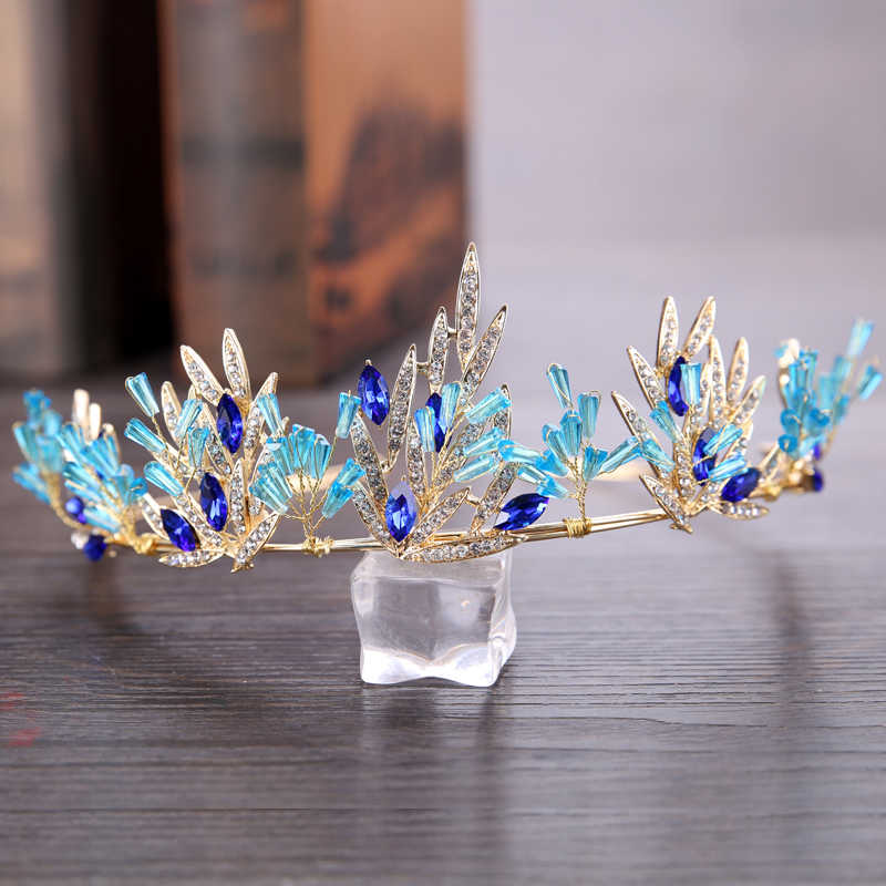 Blue Rhinestone Crown Hair Accessories For Wedding/Engagement Gold Color Leaf Tiara Headdress Crown Bride Hair Jewelry