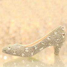 Crystal lady's formal shoes Jeweled 5cm Low Heel Bridal Evening Prom Party Wedding Dresses Bridesmaid Shoes Birthday Party Shoes
