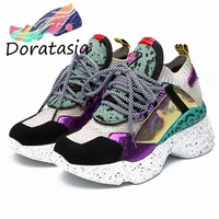 DORATASIA New Dropship Genuine Leather Shoes Suede Light Mesh Sock Sneakers Women 2019 Summer Horsehair Women Casual Shoes Woman
