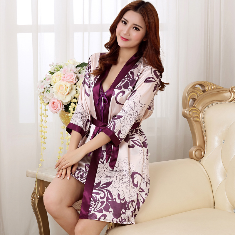 Sexy Print Women Robe Set 2 PCS Satin Rayon Bathrobe Women Kimono Nightgown Casual Sleep ...
